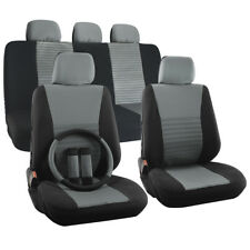 Car Seat Cover for Hyundai Sonata Steering Wheel/Head Rests Gray Full Stripe