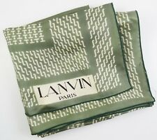 "LANVIN PARIS 100% Silk Scarf ~ Green & Ivory Geometric Pattern ~ 26"" ~ 66 cm~ ac"