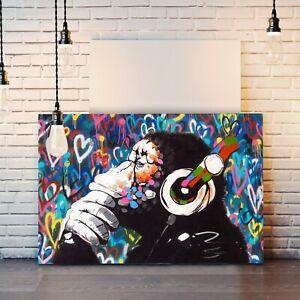 MONKEY DJ BANKSY LOVE WALL CANVAS STREET ART PICTURE PRINT FRAMED  -  GORILLA