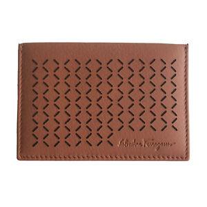 L-2799100 New Salvatore Ferragamo Cinnamon & Off White Leather Credit Card Case
