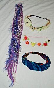 Boho Lady Hippie Hair Lot of 4 Tie Dye Head Band Floral Daisy Purple Hair Yarn