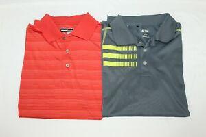 Lot of 2 Men's Adidas Golf Grey Yellow Grand Slam Orange Polo Shirts Size L EUC