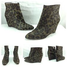 B BRIAN ATWOOD NEW BELLARIA Taupe Pony Hair Designer Wedge Heels Boots 8 $595