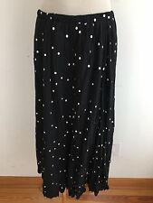 CHICO'S Full Length Skirt Black w/White Embroidered Polka Dots w/ Lace Hem Sz 2