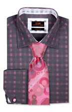 Dress Shirt Only by SL Trim&Classic Fit French Angle Cuff-Gray/Pink-TA713-CH