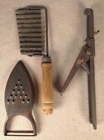 Vintage 1930s Kitchen Utensils Metal/Wood Grater, Press, Scallop Blade Unmarked