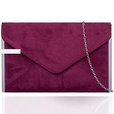 Burgundy Suede Wedding Ladies Prom Evening Clutch Hand Bag Purse Envelop HandBag