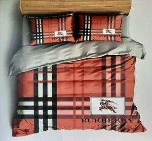Luxury Bedding Set Burberry Satin/Cotton 6 pcs.