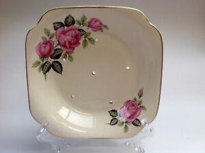 Royal Staffordshire Ceramics England, pink roses vintage ceramic salad strainer