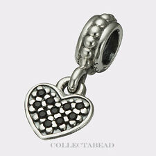 Authentic Pandora Sterling Silver Dangle Heart Pave Black CZ Bead 791023NCK