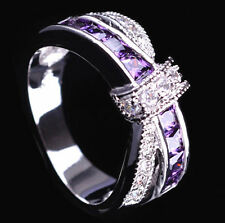 Women Blue Sapphire White Gold Filled Ring men Size6 7 8 9 Rings Jewelry
