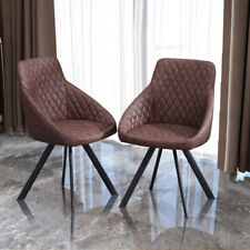 2× Brown Dining Chairs Luxury Faux Leather Armchairs Metal Legs Home Restaurant