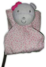 Precious Firsts Pink Leopard Spots White Bear Bow Baby Security Blanket Rattle