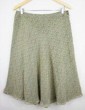 Jones New York Womens Skirt 12 Silk A-Line Midi Flare Green Festival Summer 56
