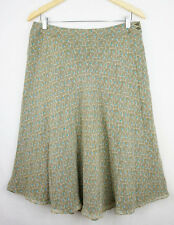Jones New York 12 Womens Skirt 100% Silk Flowy A-Line Midi Flare Swing Green #56