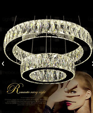 LED Modern Contemporary Crystal  2 Oval Ring Chandelier Ceiling Pendant Lighting