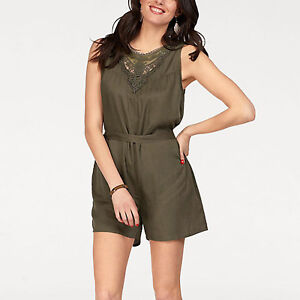 WOW Gr.34/36 XS/S Viscose KHAKI Sommer Jumpsuit Playsuit Overall Spitze OLIV