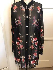 Citron Santa Monica Black Sheer Silk Floral Embroidered Tunic Blouse XL