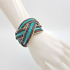 Memory Wire Glass Seed Beads Wrap Bracelet Beach Gypsy Wood Silver Plated Accent