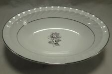 """Aladdin China Spring Swirl? Silver Gray Rose 11"""" Oval Vegetable Serving Bowl USA"""