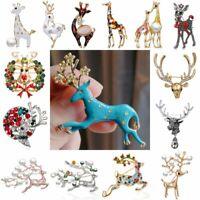 Christmas Deer Elk Animal Enamel Crystal Pearl Brooch Pins Xmas Party Jewellery