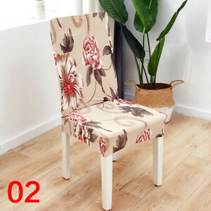Flower Printing Elastic Dining Chair Cover Spandex Anti-dirty Kitchen Seat Case