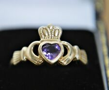 Vintage Ladies 9 ct Claddagh Heart Stone Amethyst Set Heart size R.1/2  / 9 US