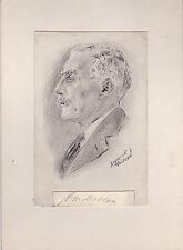ANDREW MELLON Industrialist &Treasury Sec. AUTOGRAPH on SEYMOUR HALPERN DRAWING