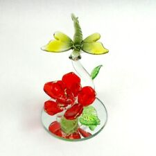 Hand Blown Glass Dragonfly Red Rose Figurine on Mirror Base