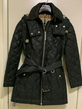 New Burberry Women Baughton 18 Hooded Belted Quilted Jacket Black Size XS NWT!!!