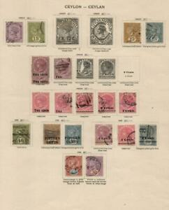 CEYLON: 1886-1893 Examples - Ex-Old Time Collection - Album Page (42645)