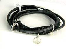"ENDLESS Black Multi Leather 3 Strand Double Wrap Sterling 4 Charm Bracelet*7"""
