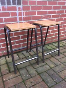Vintage Original Stool Chemistry, Science Lab, School Kitchen-wooden seat X2 (A)