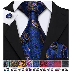 Silk Mens Tie Necktie Blue Gold Floral Paisley Pocket Square Cufflinks Set Party
