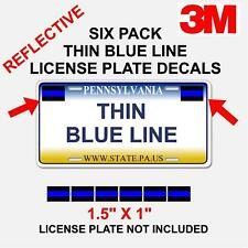 6 PACK THIN BLUE LINE License Plate Decals Stickers FOP Police PBA Trooper 3m