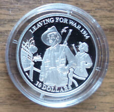 KIRIBATI 2014 LEAVING FOR WAR 1914 $10 SILVER PROOF COIN