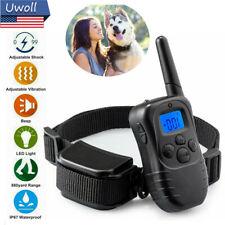 Waterproof Dog Electric Shock Training Bark Collar w/ Remote Vibration Trainer