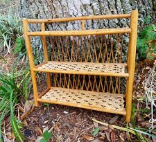 Wicker Rattan Bamboo Bathroom Wall Shelf Hanging countertop 3 tier vintage