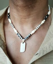 Mens hand made dog tag necklace,7 sizes,yak bone,wood beads,tribal,surfer