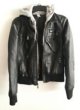 Ashley zip up black faux leather hoodie motorcycle moto jacket size M  T28