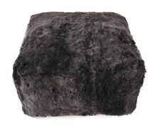 Eco Lambskin Pouf 60 x 60 x 30 cm Graphite Cube Stool Floor Cushion Foot Stool
