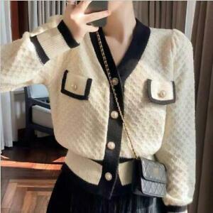 Womens 2021 New Fashion Two Tone V Neck Puff Sleeve Knitted Sweater Cardigan SKG