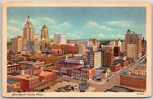 "1940s Oklahoma Postcard ""SKYLINE OF TULSA"" Aerial View Curteich Linen / Unused"