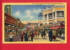 LONG BEACH CA ON THE PIKE LEE'S BARBECUE 1951   WILLEKE KENTON OHIO OH  POSTCARD