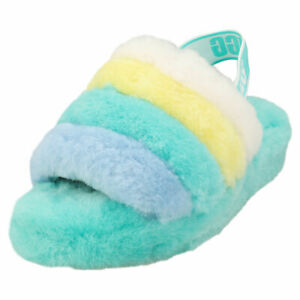 UGG Fluff Yeah Slide Womens Multicolour Sheepskin Slippers Sandals