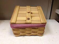 """LARGE Wood Slant Kitchen Kids Toy Lego Books DVD Wicker Basket lid liner red 14"""""""