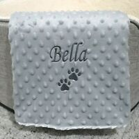 PERSONALISED DOG CAT PET BLANKET GREY BUBBLE EFFECT SOFT DURABLE PAW PRINT