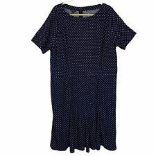 Talbots Blue Polka Dot Short Sleeve Below Knee A Line Dress Womens Plus 16W New