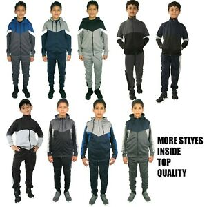 Boys Tracksuit Kids Sports Gym Hooded Bottoms Zip Up Hoodie Age 7 8 9 10 11 12