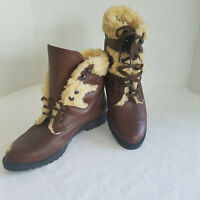 Ladies Brown Leather Ankle Boots, Faux fur Lined, Speed Hook Laces, Poland  7